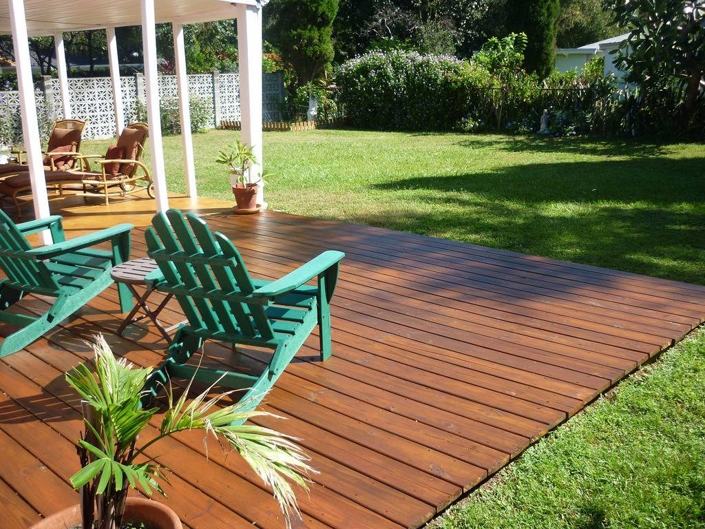 How To Stain an Outdoor Wooden Deck - StairSupplies™ on Backyard Wood Deck Ideas id=73262