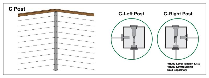 C Post Left & Right Surface Mount