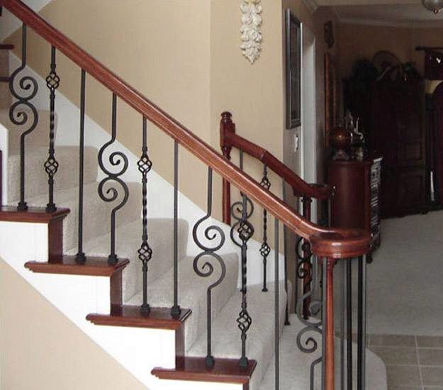 Volute Handrail With Decorative Balusters