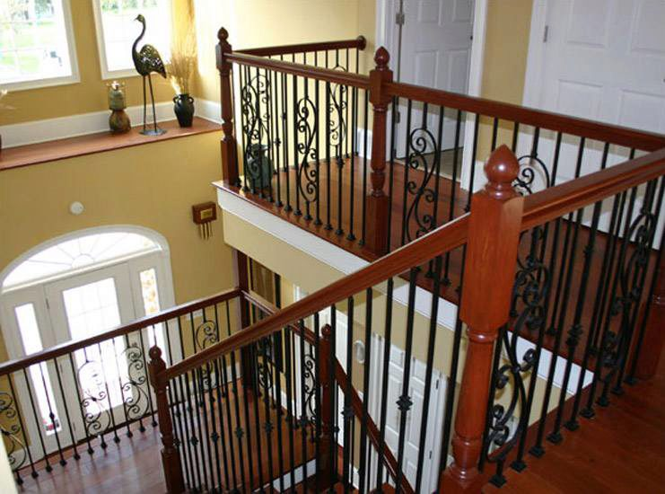 Turned Newels with Iron Balusters