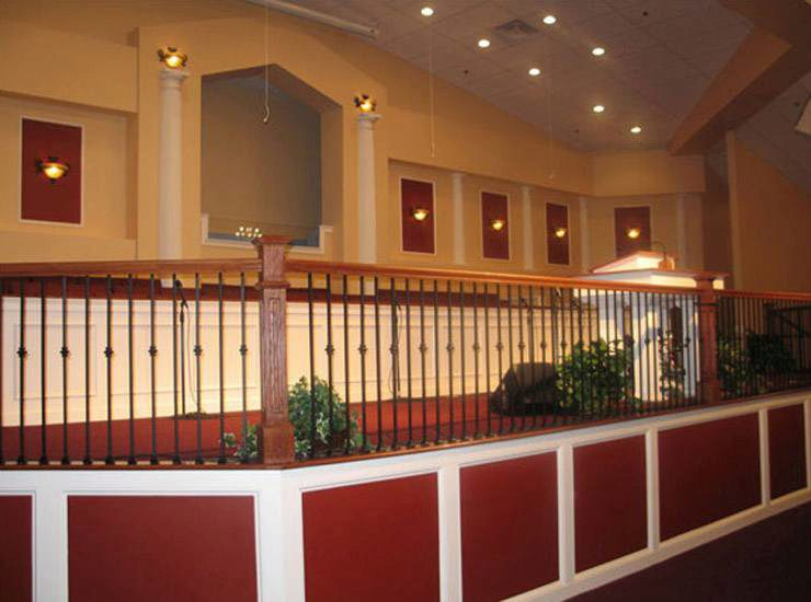 Box Newels with Traditional Iron Balusters