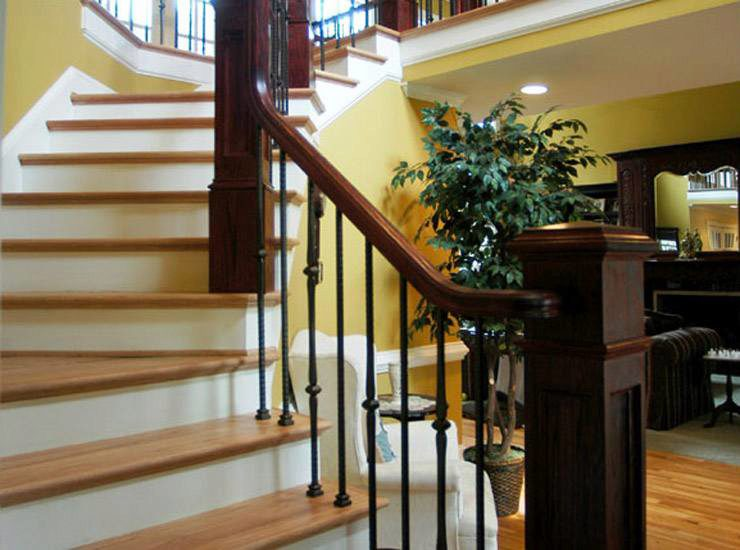Straight Handrail on Winding Stairway