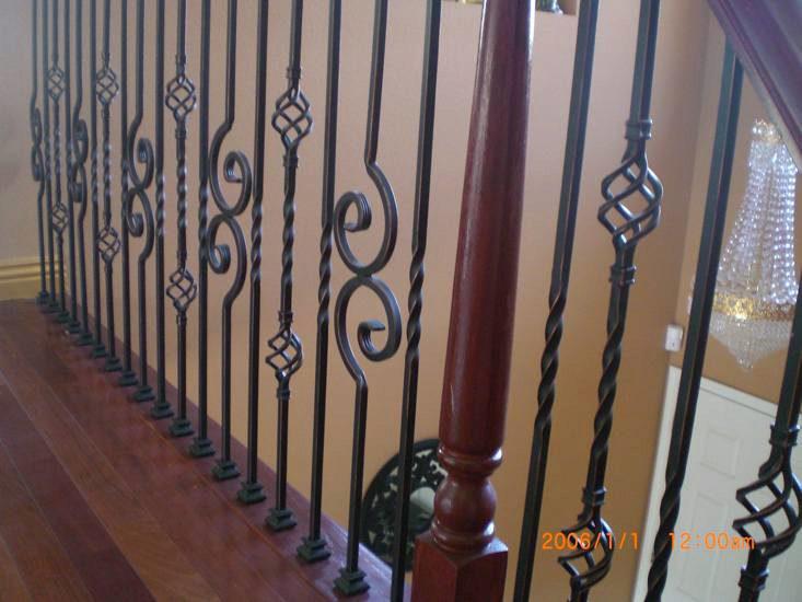 Iron Balusters, Turned Newels, & Bending Handrail