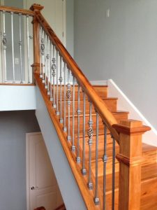Colonial Handrail with Ash Grey Iron Balusters