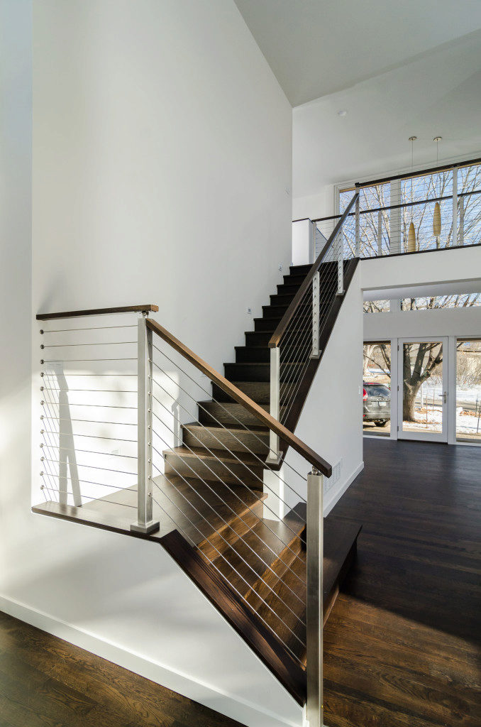 Modern Stairway with Stainless Steel Posts