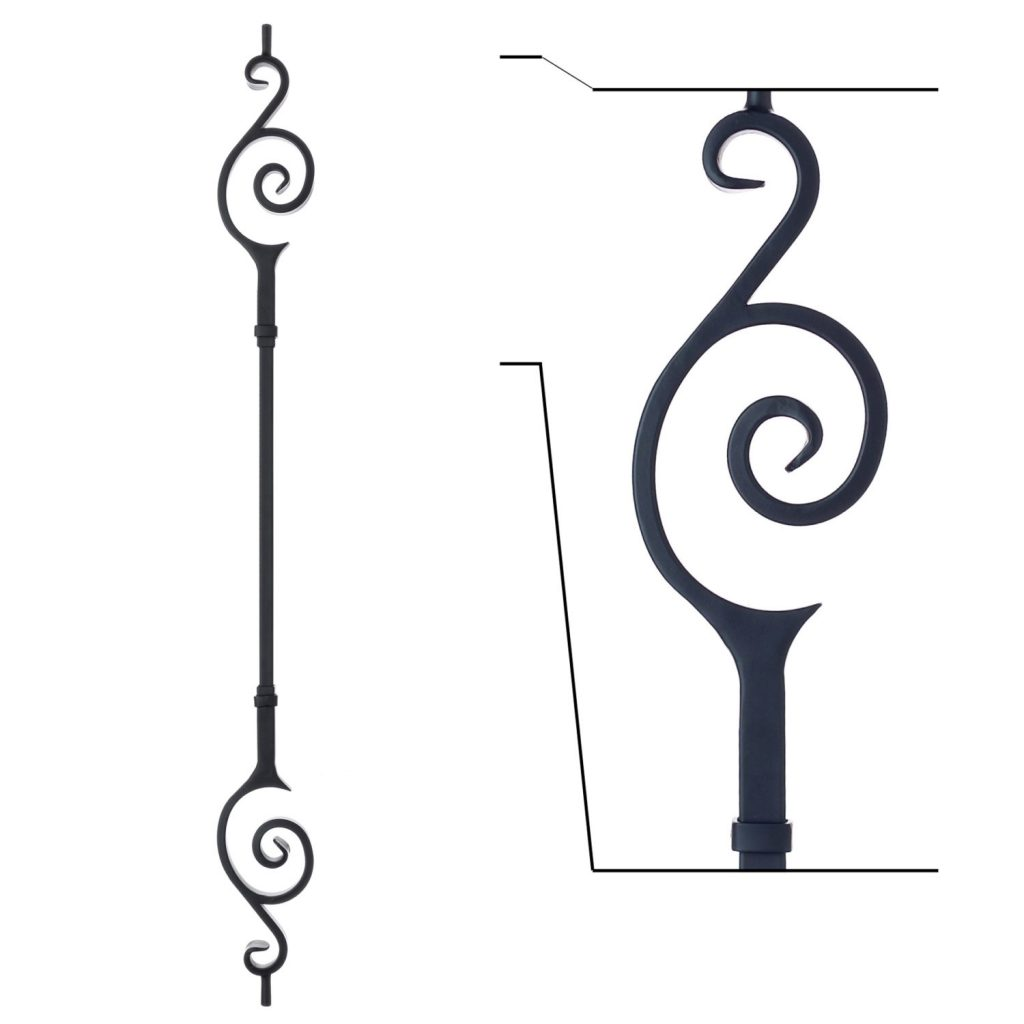 16.7.3 Large Double Scroll Iron Baluster - StairSupplies™