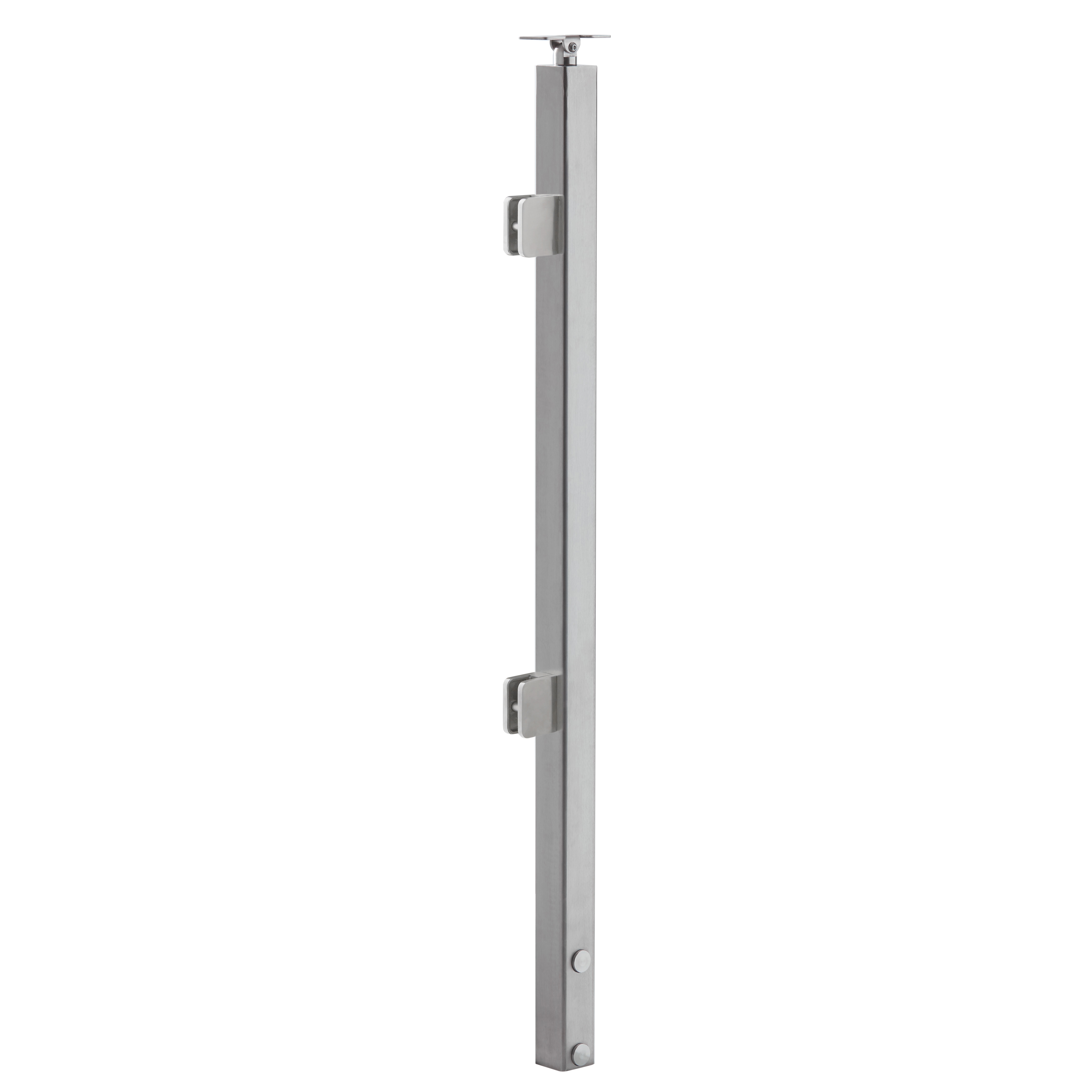 "Slim Side Mount Universal Top 2"" Square Glass Railing Post"