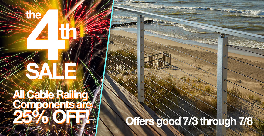 July 4th Sale On Cable Railing Kits. Viewrail Flight Floating Stairs